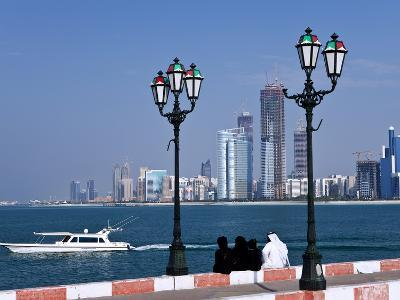 City Skyline and the Famous Corniche Looking Across the Harbour From a Pier, Abu Dhabi--Photographic Print