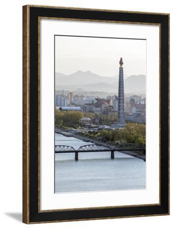 City Skyline and the Juche Tower, Pyongyang, Democratic People's Republic of Korea (DPRK), N. Korea-Gavin Hellier-Framed Photographic Print