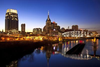 City Skyline at Dusk, Nashville, Tennessee, USA-Brian Jannsen-Photographic Print