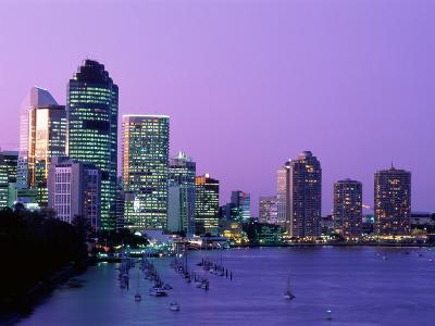 City Skyline, Brisbane, Queensland, Australia-Steve Vidler-Photographic Print