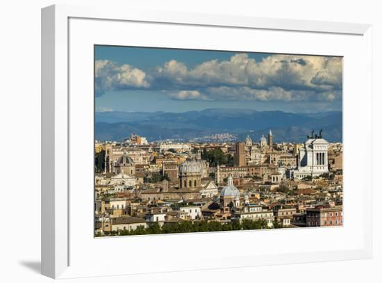 City skyline from Gianicolo or Janiculum hill, Rome, Lazio, Italy-Stefano Politi Markovina-Framed Photographic Print