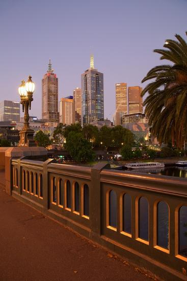 City Skyline from Princes Bridge at Dusk, Melbourne, Victoria, Australia, Pacific-Frank Fell-Photographic Print