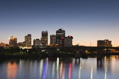 City Skyline from the Arkansas River, Dusk, Little Rock, Arkansas, USA-Walter Bibikow-Photographic Print