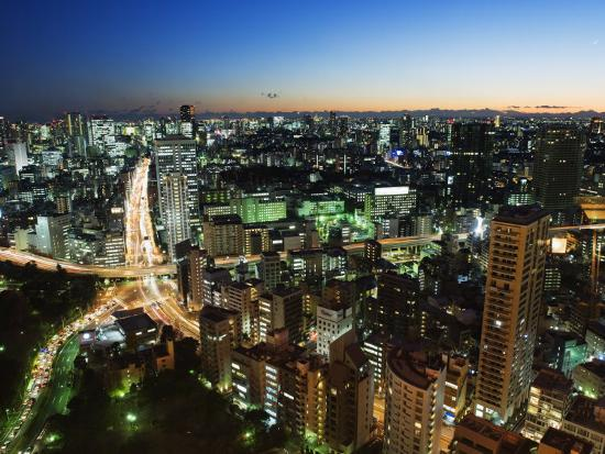 City Skyline View from Tokyo Tower, Tokyo, Japan, Asia-Christian Kober-Photographic Print