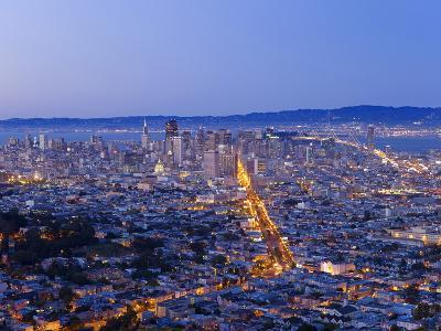 City Skyline Viewed from Twin Peaks, San Francisco, California, USA-Gavin Hellier-Photographic Print