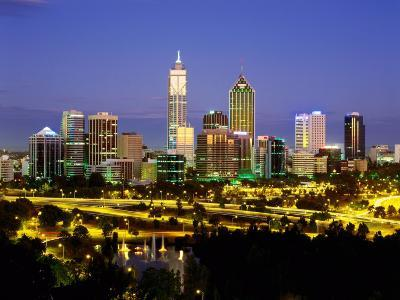 City Skyline with Central Business District at Dusk, Perth, Western Australia-Ross Barnett-Photographic Print
