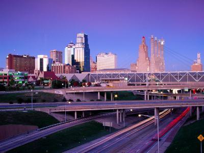 City Skyline with Freeway in Foreground, Kansas City, USA-Richard Cummins-Photographic Print