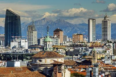 City Skyline with the Alps in the Background, Milan, Lombardy, Italy-Stefano Politi Markovina-Photographic Print