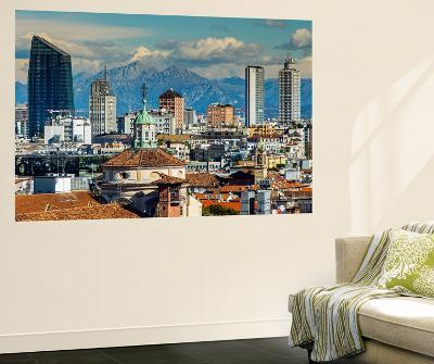 City Skyline with the Alps in the Background, Milan, Lombardy, Italy-Stefano Politi Markovina-Wall Mural