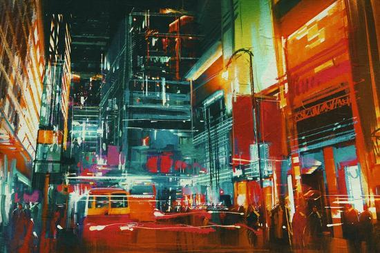 City Street at Night with Colorful Lights,Digital Painting-Tithi Luadthong-Art Print