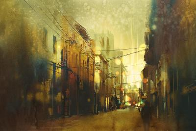 City Street,Illustration Painting with Vintage Style-Tithi Luadthong-Art Print