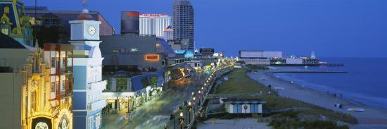 City Street Lit Up at Night, Atlantic City, New Jersey, USA--Photographic Print