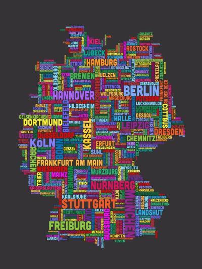 City Text Map of Germany-Michael Tompsett-Art Print