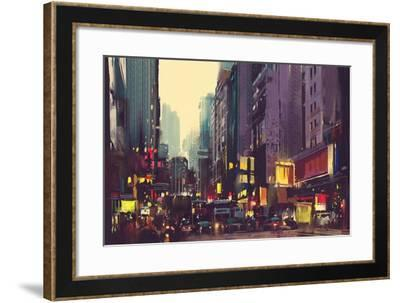 City Traffic and Colorful Light in Hong Kong,Illustration Painting-Tithi Luadthong-Framed Art Print