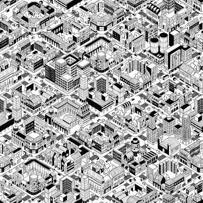 City Urban Blocks Seamless Pattern (Large) in Isometric Projection is Hand Drawing with Perimeter B-vook-Art Print
