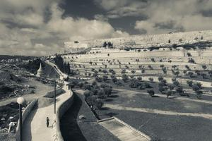 City walls from the Valley of Jehoshaphat at morning, Jerusalem, Israel