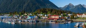 City with mountains in the background, Sitka, Southeast Alaska, Alaska, USA
