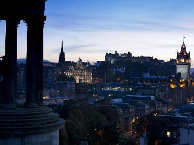 Cityscape at Dusk Looking Towards Edinburgh Castle, Edinburgh, Scotland, Uk-Amanda Hall-Photographic Print
