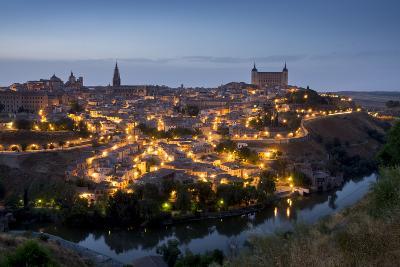 Cityscape at Dusk, Toledo, Castile-La Mancha, Spain, Europe-Charles Bowman-Photographic Print