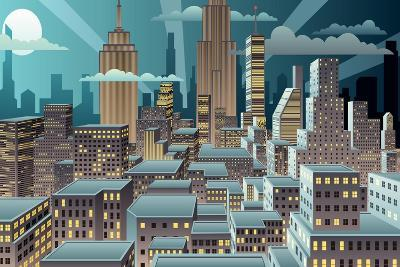 Cityscape at Night. Basic (Linear) Gradients Used. No Transparency.-Malchev-Art Print