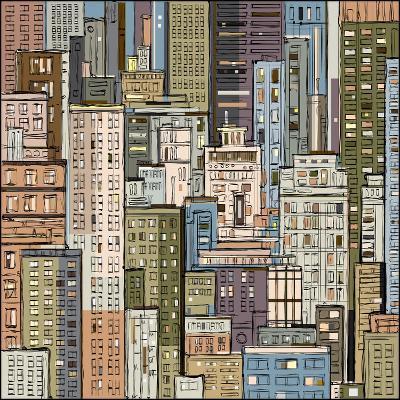 Cityscape. Hand Drawn Vector-dahabian-Art Print