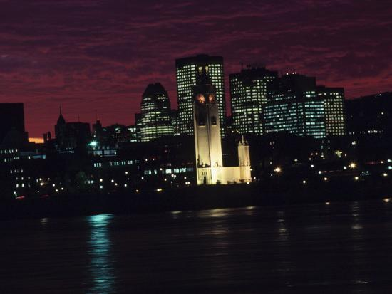 Cityscape of Montreal at Sunset with Illuminating Lights from Buildings in Quebec, Canada--Photographic Print