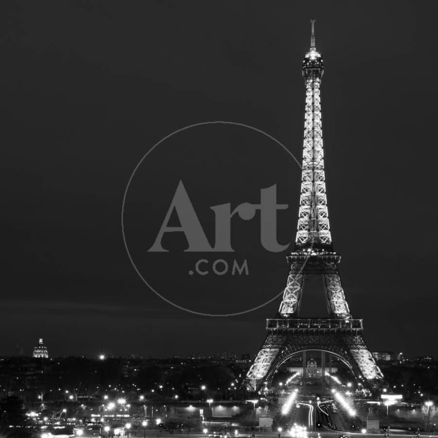 Cityscape paris with eiffel tower at night black and white photographyby philippe hugonnard