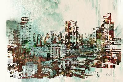 Cityscape with Abstract Textures,Illustration Painting-Tithi Luadthong-Art Print