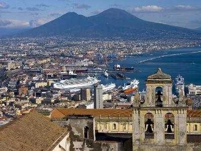 Cityscape With Certosa Di San Martino and Mount Vesuvius Naples, Campania, Italy, Europe-Charles Bowman-Photographic Print