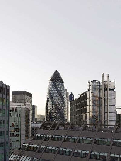 Cityscape with Swiss Re Tower by Architect Sir Norman Foster, 30 St Mary Axe, England-Axel Schmies-Photographic Print