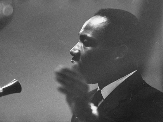 Civil Rights Leader Dr. Martin Luther King Jr. Making a Speech--Premium Photographic Print
