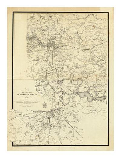 Civil War Map Showing the Operations of the Armies against Richmond and Petersburg, c.1865--Art Print