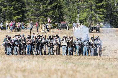 Civil War Soldiers Shooting -Re-Enactment-Sheila Haddad-Photographic Print