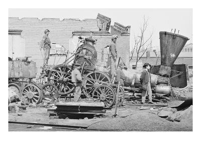 Civil War Train Wreck--Art Print