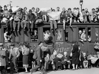 Civilians Packing Onto Overcrowded Train Leaving Postwar Berlin-Margaret Bourke-White-Photographic Print
