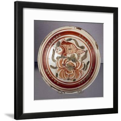 Cizhou Bowl Decorated with Peony and Fish--Framed Giclee Print