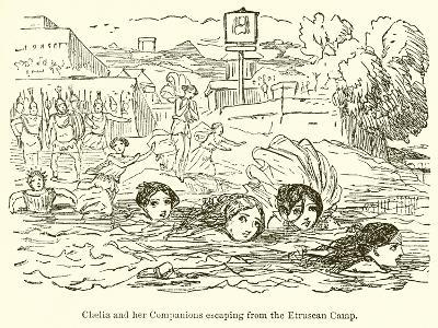 Claelia and Her Companions Escaping from the Etruscan Camp-John Leech-Giclee Print