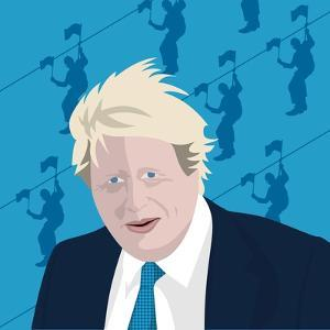 Boris Johnson and the zip wire by Claire Huntley