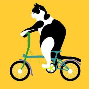 Cat On A Brompton Bike by Claire Huntley