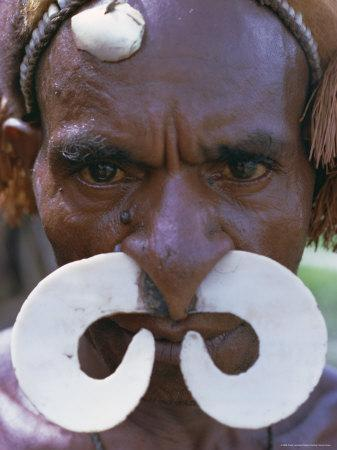 Portrait of an Asmat Man with Nose Ornament, Papua New Guinea, Pacific