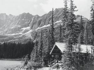 Cabin and Mts at Lake O'Hara by Claire Rydell