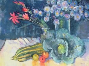 Still Life with Fruit and Flowers by Claire Spencer