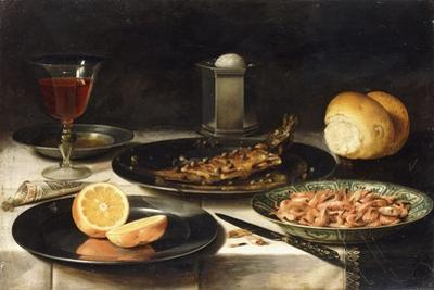 A Herring with Capers and a Sliced Orange on Plates and a Bowl of Shrimp on a Table