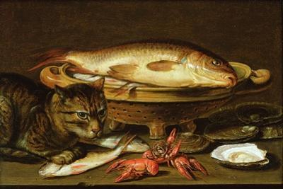 A Still Life with Carp in a Ceramic Colander, Oysters, Crayfish, Roach and a Cat on the Ledge… by Clara Peeters