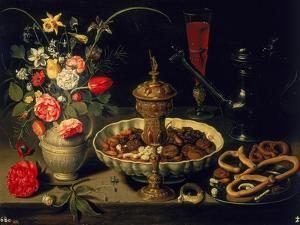 Still Life of Flowers and Dried Fruit, 1611 by Clara Peeters