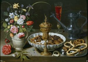 Still Life of Flowers and Dried Fruit. 1611 by Clara Peeters