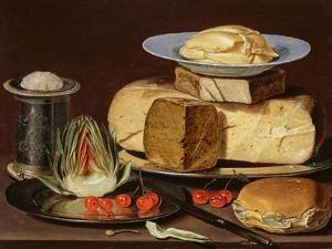 Still Life With Cheeses, Artichoke, And Cherries by Clara Peeters