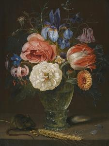 Still life with flowers, a rummer and a mouse by Clara Peeters