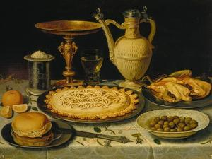 Table with Cakes, Chicken and Olives by Clara Peeters