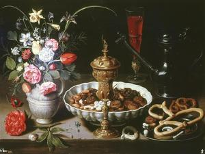 Table with Pitcher and Dish of Dried Fruit, 1611 by Clara Peeters